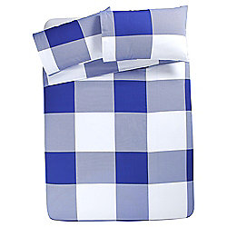 Tesco Basic Oversize Check Kingsize Duvet Set - Blue