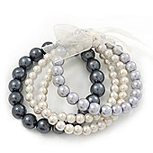 Grey/White Multistrand Glass Bead Flex Bracelet - Up to 19 cm wrist