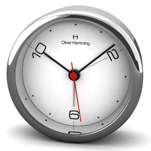 Oliver Hemming Alloy Desire Alarm Clock - 8cm - White