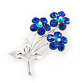 Royal Blue Crystal 'Triple Flower' Brooch In Silver Metal - 4.5cm Length
