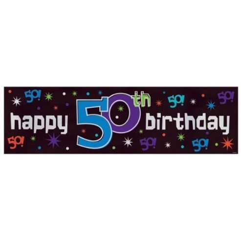 Party - Giant Sign Banner - Happy 50th Birthday - Amscan