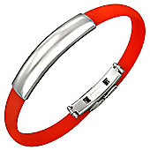 Urban Male Men's Stainless Steel & Red Rubber ID Bangle