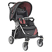 Kiddu Omari Lie-Back Compact Fold Pushchair, Black/Red