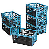 Tesco 32L Folding Crate  Pack Black/Blue pack of 6