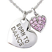 White Bronze Pendant with attached Pink Cubic Zirconia Heart with Chain Message - 'Born to Dance'
