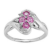 Gemondo Sterling Silver 0.64ct Natural Pink Sapphire & Diamond Classic Style Ring