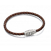 Men's Fred Bennett Brown Leather Bracelet with Ribbed Clasp