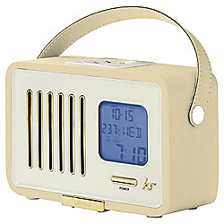 Kitsound Swing Portable FM Radio with Alarm Clock, Cream