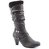 Emilio Luca X Ladies Knitted Cuff Lock Black Knee High Boots