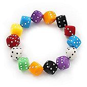 Multicoloured Acrylic 'Dice' Flex Bracelet - up to 20cm Length