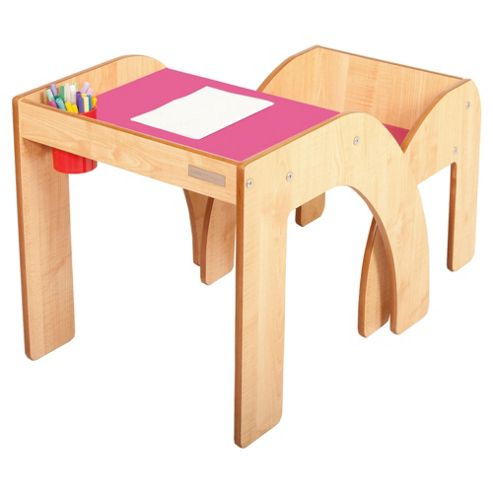 Fun Station Solo Toddler Table & Chair Set In Maple/Dark Pink
