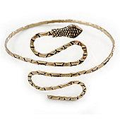 Egyptian Style Hammered Snake Upper Arm, Armlet Bracelet In Antique Gold Plating - Adjustable