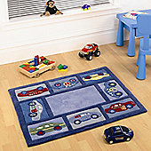 Rugs with Flair Kiddy Play Racing Car  Kids Rug - 80cm x 100cm