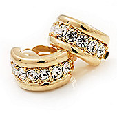 C-Shape Diamante Clip On Earrings In Gold Plated Metal - 17mm Length