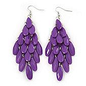 'Through The Grape Vine' Chandelier Drop Earrings (Purple) - 11cm Length