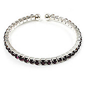 Deep Purple Crystal Thin Flex Bangle Bracelet (Silver Tone)