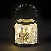 Glass Jar with Glitter Forest Decoration and Warm White LEDs 28cm