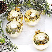 Pack of 4x 10cm Soft Gold Glass Balls Shiny Finish