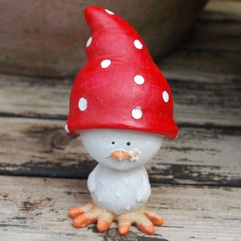 Fun Chick With Spotty Hat Resin Garden Ornament