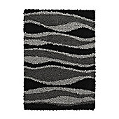 Think Rugs Vista Black/Grey Shaggy Rug - 80 cm x 150 cm (2 ft 8 in x 4 ft 11 in)