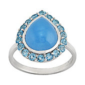 Gemondo Sterling Silver 3.35ct Blue Jade & 0.64ct Blue Topaz Pear Cluster Ring