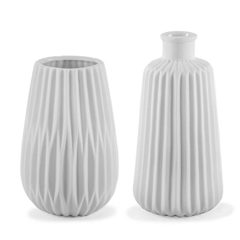 buy 39 esko 39 white geometric porcelain contemporary vase duo. Black Bedroom Furniture Sets. Home Design Ideas