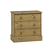 Home Essence Dunedin Wide Three Drawer Chest in Pine