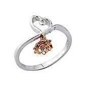 Silver and Rose Gold Cubic Zirconia Ring