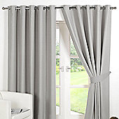 Dreamscene Ring Top Lined Pair Eyelet Thermal Blackout Curtains, Silver Grey - Silver