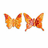 Set of Two Small Resin Buterfly Garden Ornaments