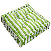 Homescapes Cotton Green Thick Stripe Floor Cushion, 40 x 40 cm