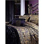 Biba Gold Scroll Jacquard Double Duvet Cover In Gold