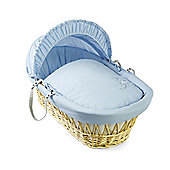 Clair de lune Starburst Natural Wicker Moses Basket - Blue