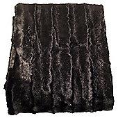 Shiny Faux Fur Throw, Chocolate