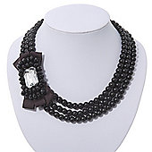 3-Strand Black Glass Bead With Fabric Bow Necklace In Silver Plating - 40cm Length