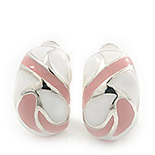 Pale Pink/White C-Shape Geometric Enamel Clip-on Earrings In Rhodium Plating - 20mm