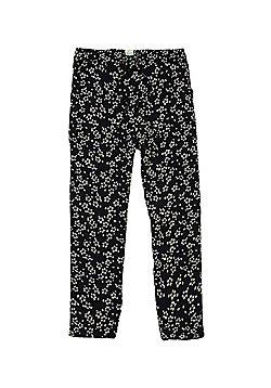 Yumi Girl Floral Trousers - Black & White