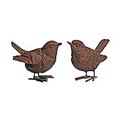 Pair Of Detailed Resin Wren Bird Ornaments For The Garden
