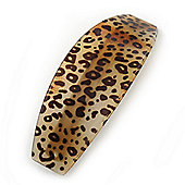 Large Cheetah Print Acrylic Barrette Hair Clip Grip - 95mm Across