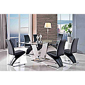 Valentino Designer Glass and Stainless Steel 160 cm Dining Table with 6 Black Zed Chairs