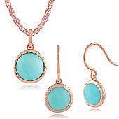 Gemondo Amazonite 'Irida' Pastel Gold Plated Silver Drop Earring & 45cm Necklace Set