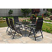 Sorrento 8pc Black Rect Deluxe Recliner Set