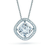 The REAL Effect Rhodium Plated Sterling Silver Cubic Zirconia Rotated Square, Raised Large Centre Pendant Pendant