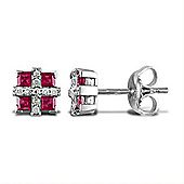 Jewelco London 18 Carat White Gold 9pts Ruby 56pts Diamond Earrings