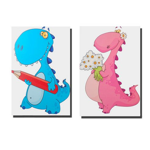 Novus Imports Dinosaur Pals Set of 2 White Background Canvas Print