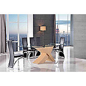 Valencia Glass & Oak 160 cm Dining Table with 4 Brown Alisa Chairs