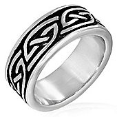 Men's Solid Stainless Steel Two Tone Tribal Band Ring - Size Z+4