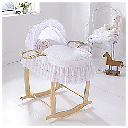 Clair de Lune Moses Basket Broderie Anglais (Includes deluxe stand)