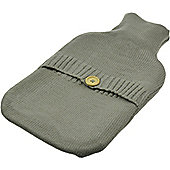 Harbour Housewares Full Size Hot Water Bottle With Knitted Cover - Button Design