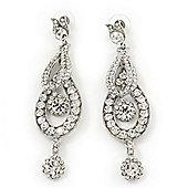 Rhodium Plated Swarovski Crystal 'Let Me Count the Ways' Chandelier Earrings - 8.5cm Lenth